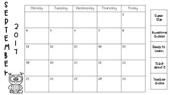 2017-2018 Behavior Calendars