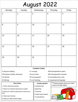 2017-2018 Behavior/conduct calendars