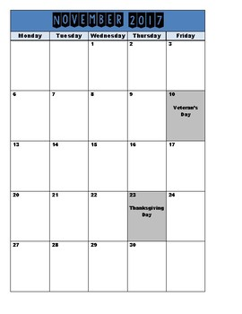 2017-2018 Calendar August to June Monday-Friday
