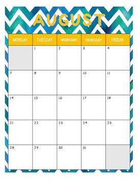 2017 - 2018 Calendar (July - June)