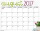2017-2018 Calendar Pages: Cactus Blossom
