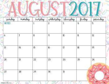 2017-2018 Calendar Pages: Sprinkled Donuts