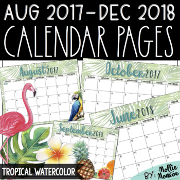 2017-2018 Calendar Pages: Tropical Watercolor