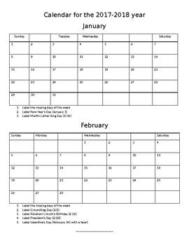 2017-2018 Calendar Practice