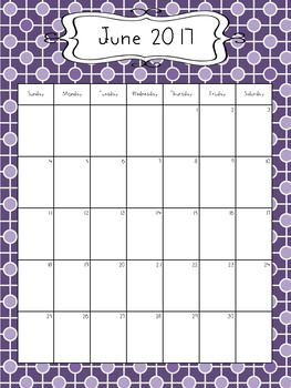 2017-2018 Calendar - Purples in Various Designs