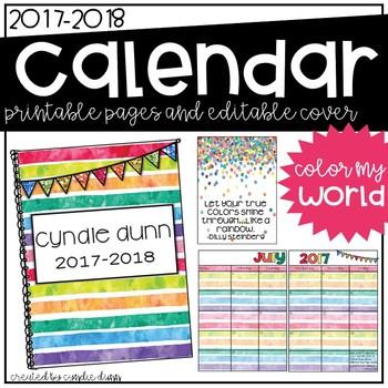 2017-2018 Calendar - Rainbow