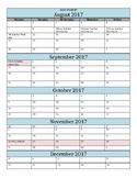 2017-2018 Calendar Template