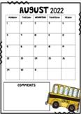 2018-2019 Calendars EDITABLE