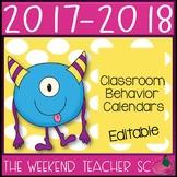 2017-2018 Classroom Behavior Calendars (Can Edit)