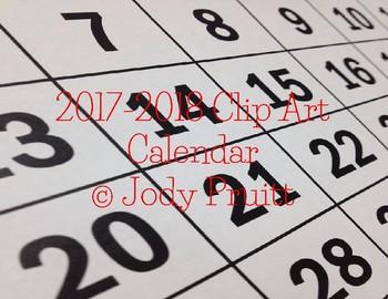 2017-2018 Clip Art Calendar