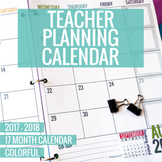 2017-2018 Colorful Teacher Planning Calendar Template