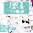 2017-2018 Colorful Teacher Planning Calendar Template