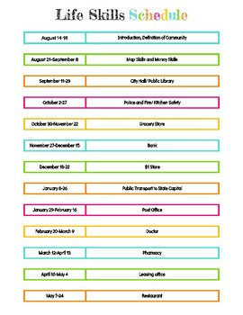 2017-2018 Community Life Skills Schedule