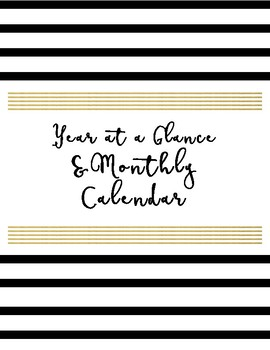 2017-2018 Complete School Counselor Planner - Black, White, & Marble Theme