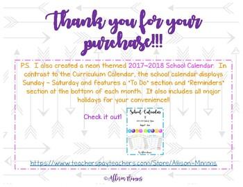 2017-2018 Curriculum Calendar