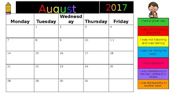 2017-2018 Editable Behavior Calendars
