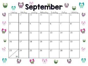 2018 2019 Editable Calendar with Clip Art
