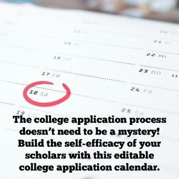 Back to School: 2017-2018 Editable College Application Calendar