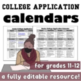 Editable College Application Calendar (Back to School)
