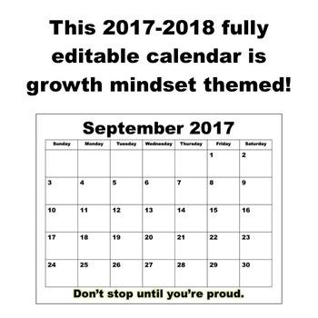 2017-2018 Editable Growth Mindset Calendar