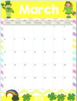 2017-2018 Editable Teacher & Student Calendars