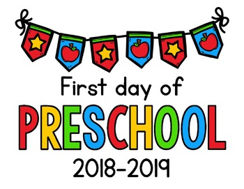 graphic about First Day of Preschool Sign Printable referred to as 2018 - 2019 Initial Working day of Higher education Symptoms FREEBIE: Preschool, PreK, Kinder, 1st, 2nd