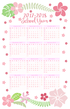 2017 2018 floral school year calendar at a glance all ages