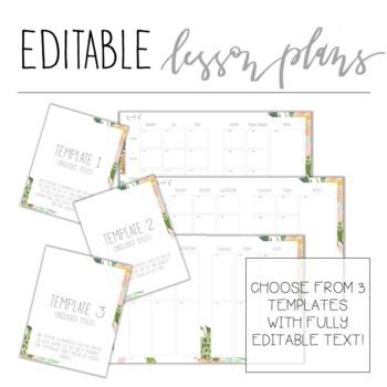 2017-2018 Floral Teacher Planner - Editable