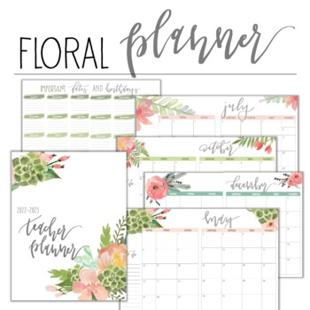 2018-2019 Floral Teacher Planner with Editable Lesson Plan Pages! FREE Updates!