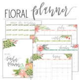 2018-2019 Floral Teacher Planner with Editable Lesson Plan