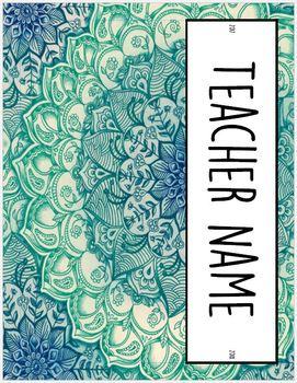 2017-2018 HS Teacher Binder--Blue/Green Floral