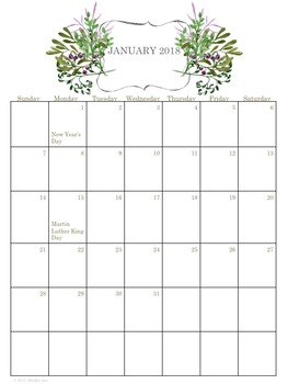 2017-2018 Homeschool Calendar