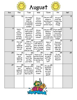 2017-2018 Journal Writing Prompts for the ENTIRE School Year