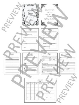 2017-2018 Lesson Plan Book - 1 Subject - Black & White