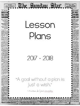 2017-2018 Lesson Plan Book - 1 Subject - Newspaper Print