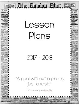 2017-2018 Lesson Plan Book - 2 Subject - Newspaper Print