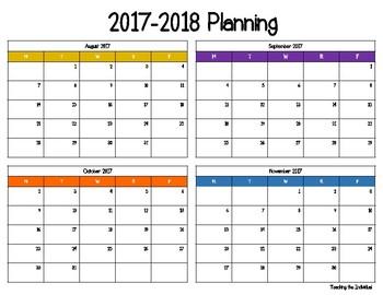 2018 planning calendar