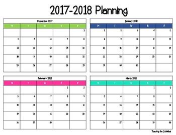 2017 2018 long term planning calendar by teaching the individual
