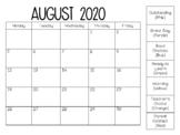 2018-2019 Monthly Behavior Calendar
