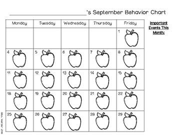 2017-2018 Monthly Behavior Calendar