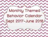 2017-2018 Monthly Behavior Calendar