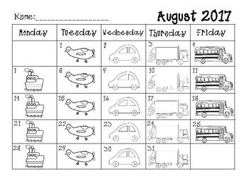 2017-2018 Monthly Behavior Chart - Transportation Theme