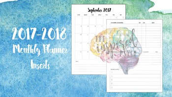 2017-2018 Monthly Calendar Planner Inserts for Psychs, Counselors, Teachers