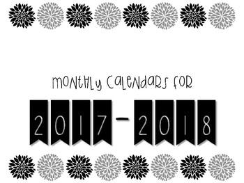 2017-2018 Monthly Calendars