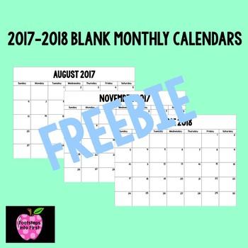 2017-2018 Monthly Calendars Blank