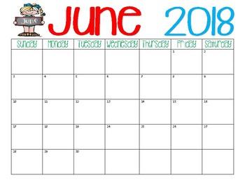 2017-2018 Monthly Calendars - PDF Versions