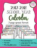 2017-2018 Monthly School Calendar with Verses