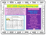 2017 - 2018 Nightly Reading Logs / Monthly Reading Calendar