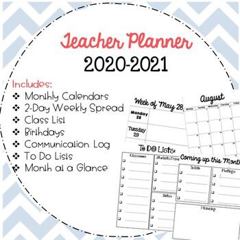 2017-2018 Teacher Planner/ Calendar  Free Updates!
