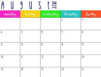 2018 2019 planning calendar by love from miss h tpt. Black Bedroom Furniture Sets. Home Design Ideas